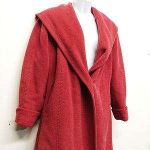 Vintage Soft Red Unique Collared One Button Coat L